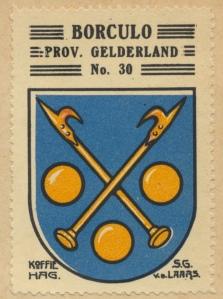 Plaatje van het Borculose gemeentewapen in het in 1924 door de firma Kofiie-Hag uitgegeven album 'Nederlandsche gemeentewapens'.